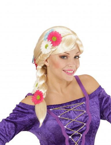Parrucca bionda con treccia donna