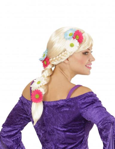 Parrucca bionda con treccia donna-1