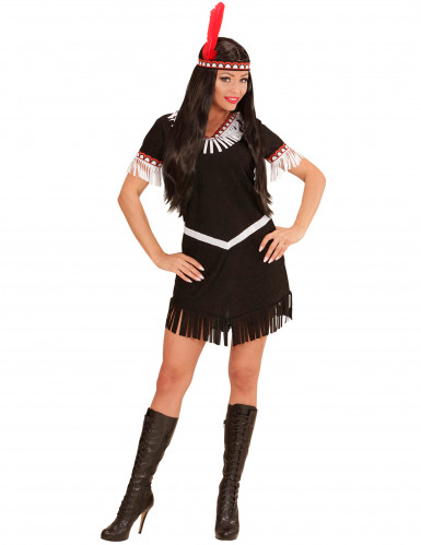 Costume indiana nera e bianca Donna-1