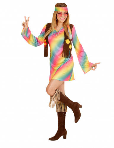 Costume hippie multicolore Donna-1