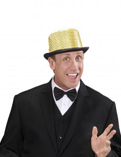 Cappello a cilindro dorato a paillette contorno nero adulto-1
