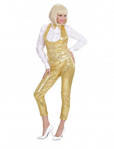 Leggings strass dorati Donna-1