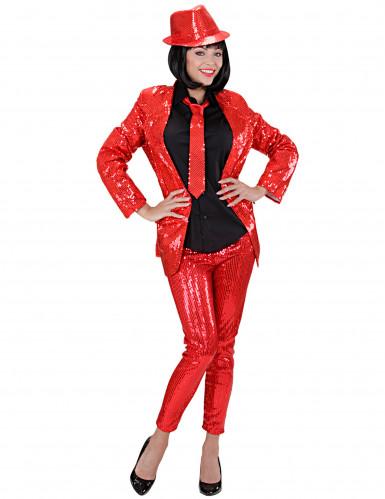 Leggings rossi con strass Donna