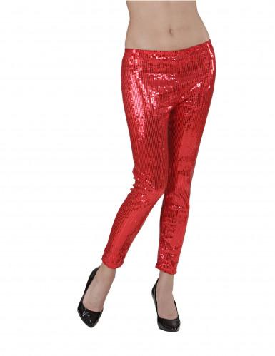 Leggings rossi con strass Donna-1