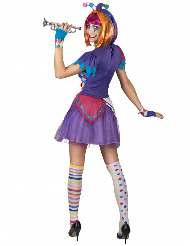 Costume da Arlecchino con pompon colorati per donna-2