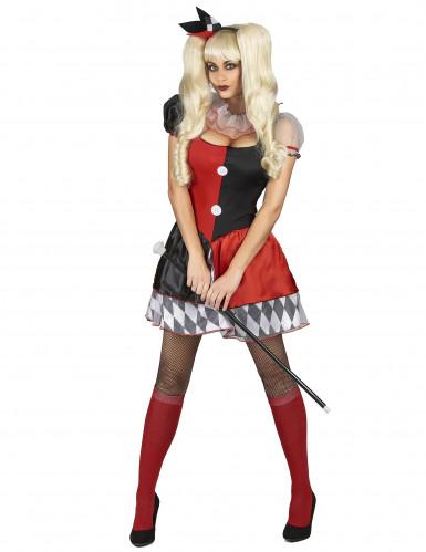 Costume da arlecchino rosso e nero per donna