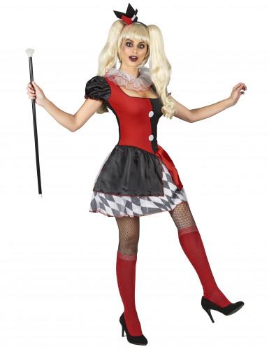 Costume da arlecchino rosso e nero per donna-1