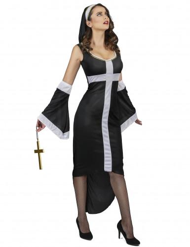 Costume da suora sexy con croce bianca per donna-1