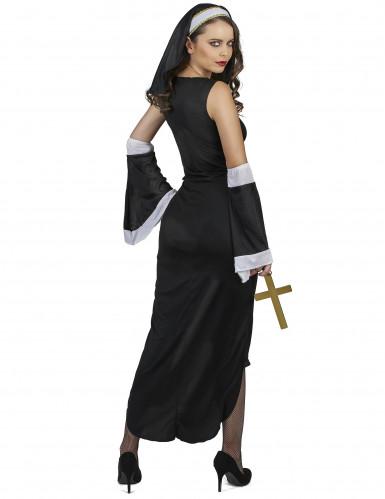 Costume da suora sexy con croce bianca per donna-2