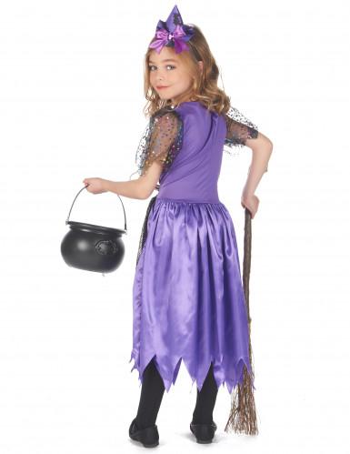 Costume da strega viola polvere di stelle per bambina Halloween-2