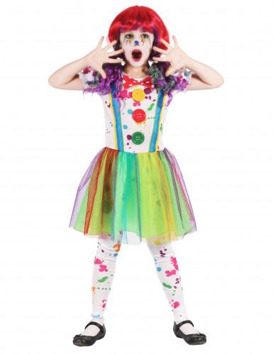 Costume da pagliaccio arcobaleno per bambina
