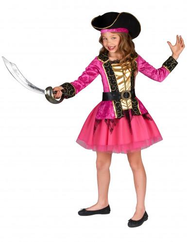 Costume pirata bambina rosa e oro-1