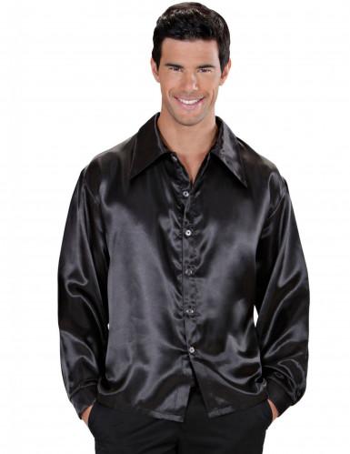 Camicia satinata nera per uomo