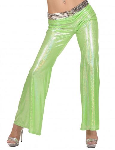Pantalone olografico verde da femme