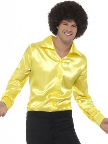 Camicia satinata giallo fluo per uomo