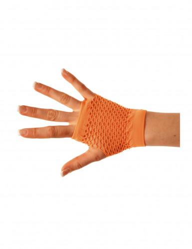 Mezzi guanti a rete arancioni per adulto