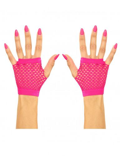 Mezzi guanti a rete fucsia per adulto