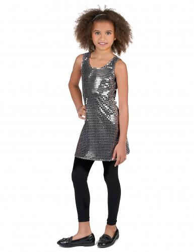 Costume disco nero con paillettes argentate per bambina-1