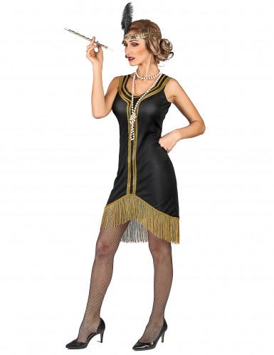 Costume Charleston nero e oro a frange donna-1