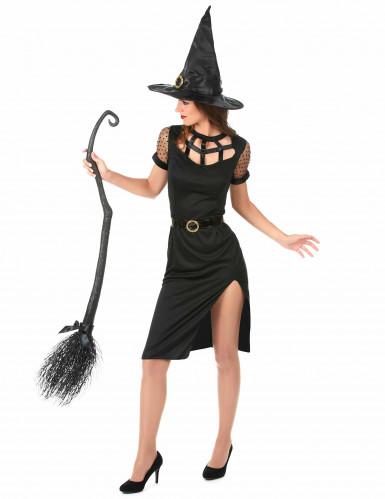 Costume da strega sexy nera Halloween donna-1