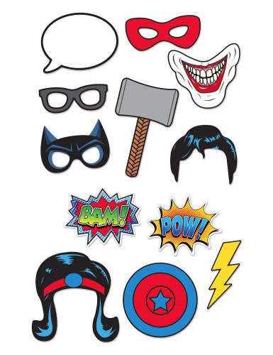 Kit photobooth 12 pezzi Supereroi