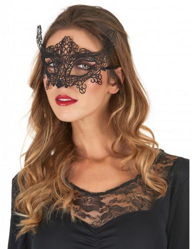 Maschera veneziana pizzo nero Donna