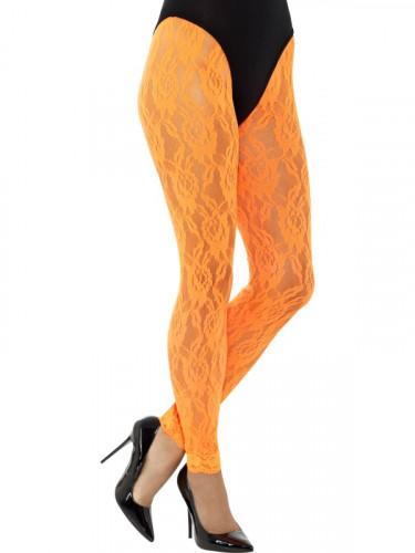 Legging in pizzo arancione per donna