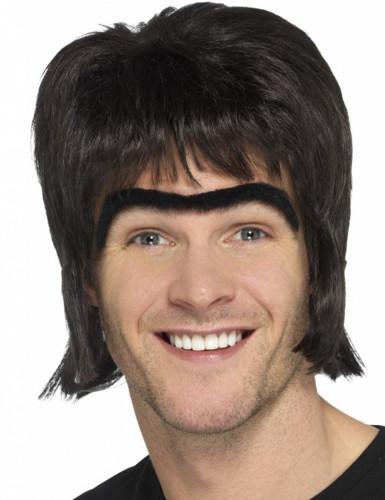 Parrucca nera e monociglia per uomo