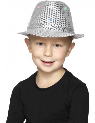 Cappello borsalino argentato a paillettes con LED per adulto-1
