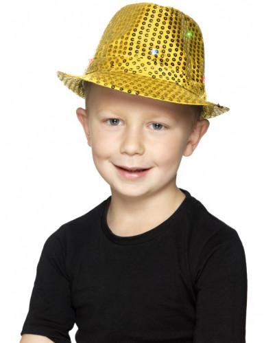 Cappello borsalino dorato a paillettes con LED per adulto-1