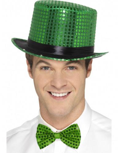 Cappello verde a cilindro con paillettes e nastro nero