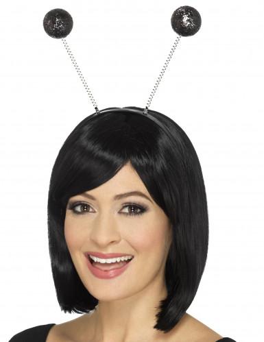 Cerchietto antenne nere da coccinella con paillettes