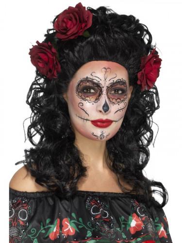 Parrucca lunga nera con rose rosse Dia de los Muertos