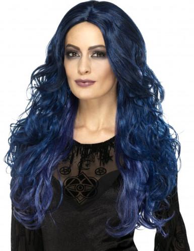 Parrucca lunga blu scuro per donna