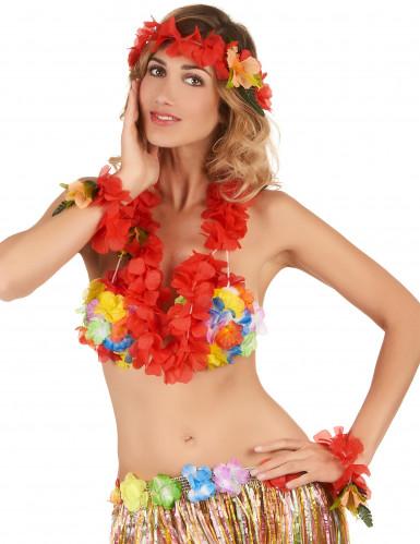 Set Hawaii rosso Adulto