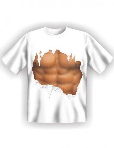 Maglietta bianca con muscoli stampati per uomo costumi - Costumi da bagno con maglietta ...