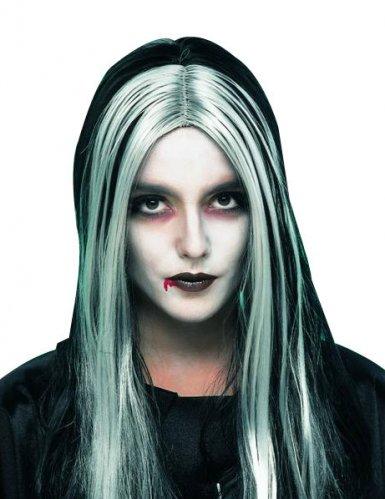 Parrucca da vampiro per donna con capelli lunghi neri