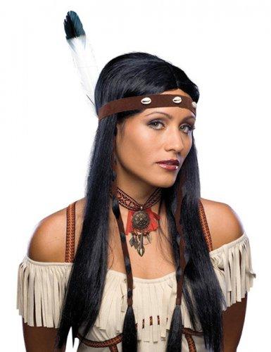 Parrucca nera lunga da indiana