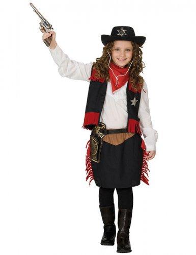 Costume da cowgirl con frange rosse per bambina