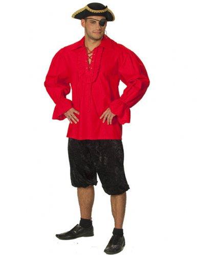 Camicia da pirata rossa per uomo