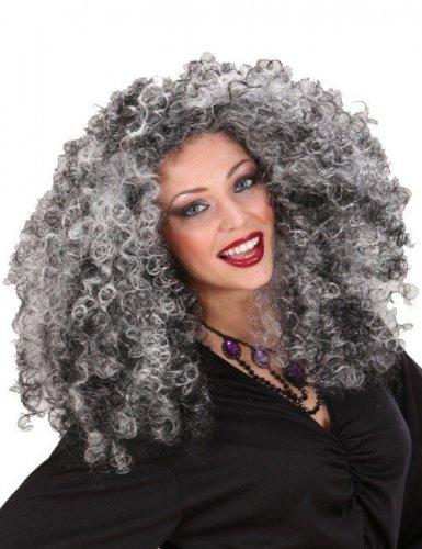 Parrucca da strega nera e grigia