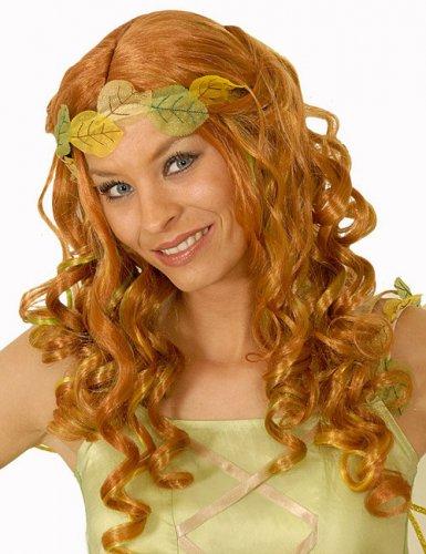 Parrucca da fata rossa con riflessi verdi per donna
