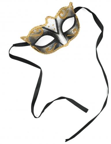 Maschera veneziana dorata con brillantini per adulto-1