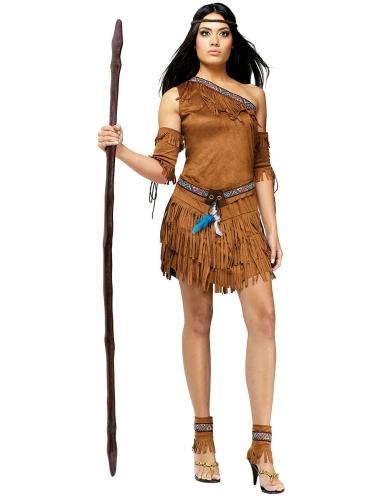 Costume marrone da indiana per donna con frange