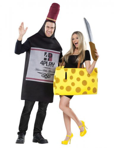 Costume di coppia bottiglia di vino e formaggio adulti