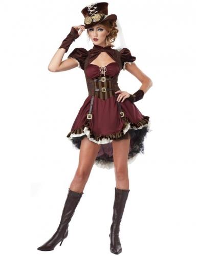 Costume Steampunk bordeaux donna