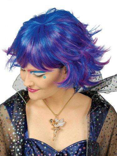 Parrucca corta blu a meche rosa per donna