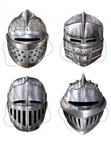 4 Maschere in cartone da cavaliere medievale