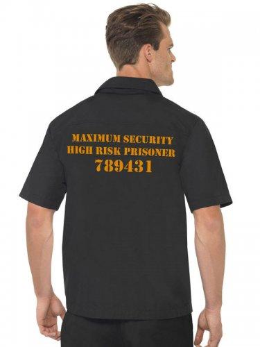 Camicia da prigioniero nero e arancione per uomo-1