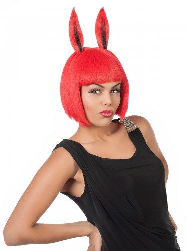 Parrucca rossa con orecchie da coniglio per donna